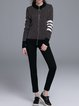 Black Knitted Casual Crew Neck Zipper Sweater