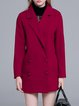 Red Long Sleeve Lapel Simple Buttoned Coat