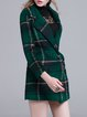 Dark Green Lapel Long Sleeve Checkered/Plaid Coat
