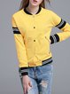 Yellow Simple Color-block Bomber Jacket