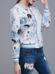 Blue Animal Print Polyester Long Sleeve Bomber Jacket