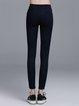 Black Simple Plain Pockets Cotton-blend Leggings
