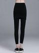 Black Casual Plain Cotton-blend Culottes Pants