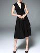 Black Sleeveless Elegant Pockets V Neck Midi Dress