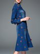 Blue Embroidered Long Sleeve Denim Midi Dress with Belt