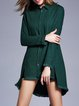 Green Shirt Collar Plain Slit Statement Long Sleeve Tunic