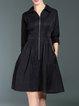 Black 3/4 Sleeve A-line Zipper Shirt Dress