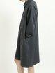 Dark Green Long Sleeve Shirt Collar Midi Dress