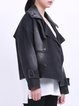 Black Denim Plain H-line Casual Cropped Jacket