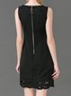 Black Sheath Crew Neck Sleeveless Pierced Mini Dress