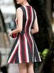 Multicolor A-line Sleeveless Stripe Mini Dress