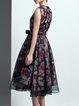 Multicolor Elegant Crew Neck Organza Paneled Polyester Midi Dress with Belt