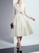 White Embroidered A-line Polyester Elegant Midi Dress with Belt