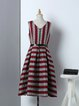 Red Elegant V Neck Jacquard Stripes Midi Dress with Belt
