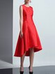 Red Sleeveless Asymmetrical  Plain A-line Midi Dress