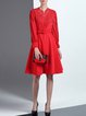Red Long Sleeve Crew Neck Mesh Paneled Midi Dress