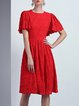 Red Frill Sleeve Crew Neck Lace Midi Dress with Belt