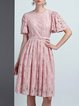 Pink Pockets Frill Sleeve Sweet  Lace Midi Dress with Belt
