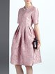 Pink Short Sleeve Jacquard Midi Dress