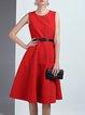 Red Jacquard Crew Neck Sleeveless Elegant Midi Dress