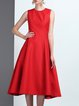 Red Sleeveless Crew Neck Folds Plain Midi Dress