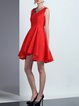 Red Cotton-blend Elegant Plain Asymmetrical Mini Dress