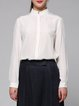 Ivory Plain Simple Stand Collar Silk Blouse