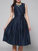 Navy Blue Plain Cutout Elegant Midi Dress