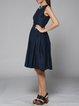 Navy Blue Plain Cutout Elegant Midi Dress