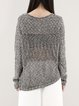 Gray Simple Pierced Crew Neck Long Sleeve Sweater