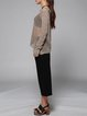 Khaki Simple Pierced Crew Neck Long Sleeve Sweater