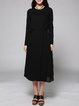 Black Crew Neck Pleated Simple Plain Midi Dress
