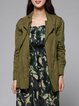 Army Green Beaded H-line Long Sleeve Coat
