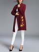 Wine Red Long Sleeve Embroidered Floral Cardigan