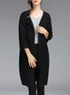 Pockets Knitted Solid 3/4 Sleeve Crew Neck Cardigan
