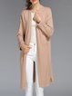Khaki Solid Long Sleeve Slit Knitted Cardigan