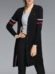 Black Buttoned Knitted Geometric Casual Cardigan