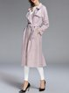Pink Long Sleeve Casual Pockets Coat with Belt