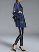 Blue Long Sleeve Embroidered Elegant A-line Coat with Belt