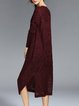Wine Red Embroidered Shift Slit Simple Sweater Dress