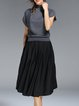 Gray Casual Turtleneck Cotton-blend Midi Dress