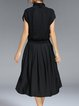 Black Short Sleeve Paneled Simple Turtleneck Midi Dress