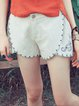 Khaki Embroidered Pockets Floral Simple Shorts