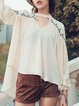 Apricot Keyhole Chiffon Balloon Sleeve Long Sleeved Top