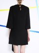 Black Wool Blend Plain Casual Crew Neck Coat