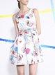 Statement Printed Folds Sleeveless Crew Neck Mini Dress