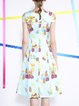 Multicolor Cold Shoulder Short Sleeve Printed Midi Dress