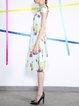 Multicolor Cold Shoulder Short Sleeve Printed Midi Dress
