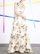 Golden Sleeveless A-line Graphic  Printed Evening Dress