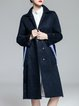 Navy Blue Elegant Pockets Lapel Coat